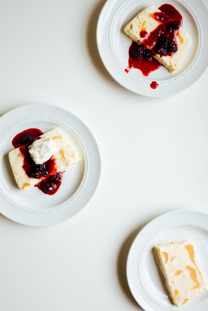 Peach Semifreddo with Blackberry Compote