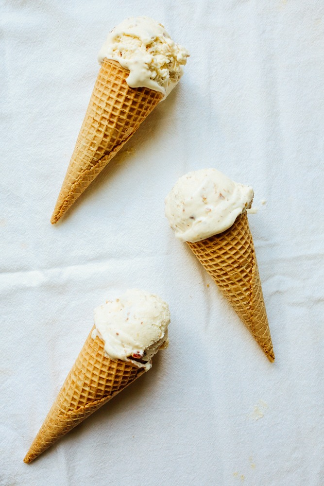 No Churn Honey Salted Almond Ice Cream