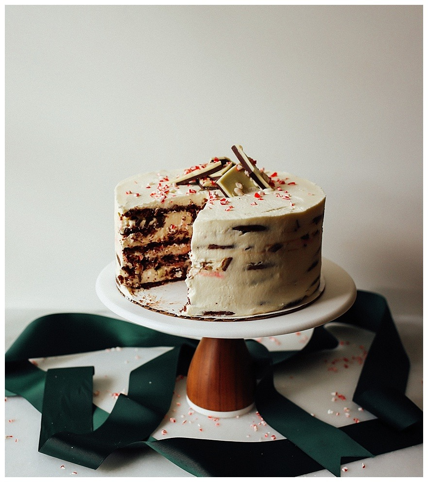 Peppermint Bark Icebox Cake
