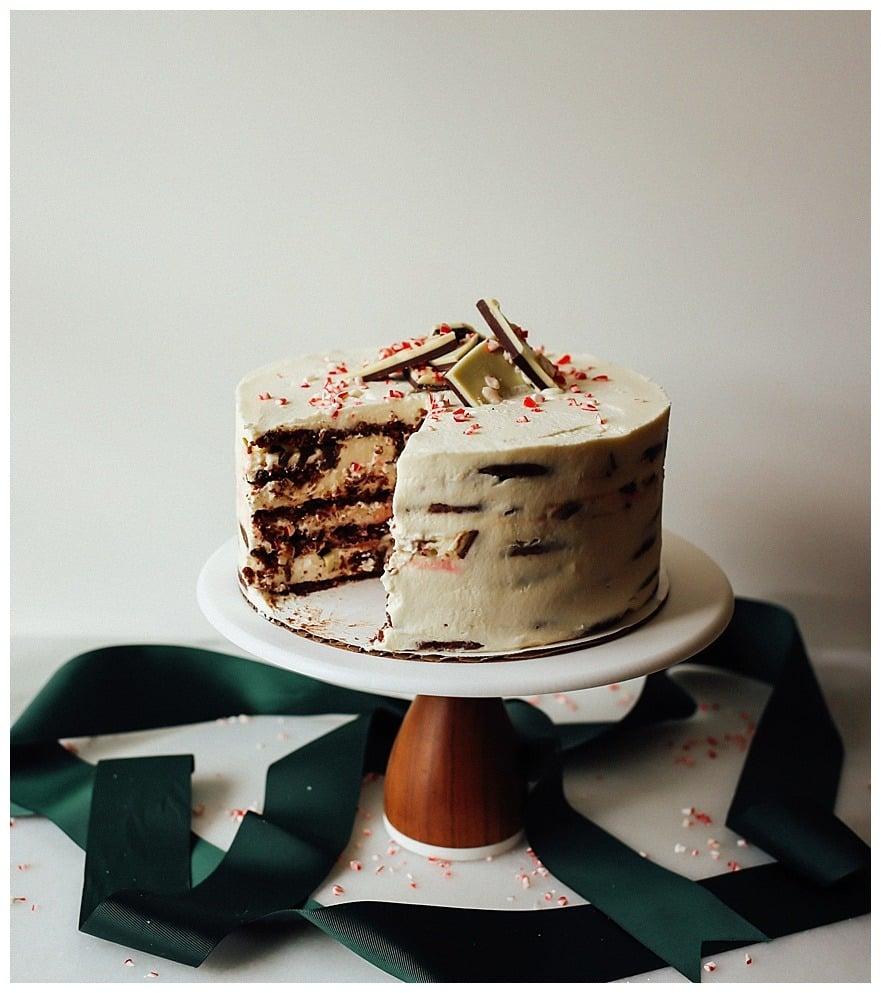 Peppermint Bark Icebox Cake