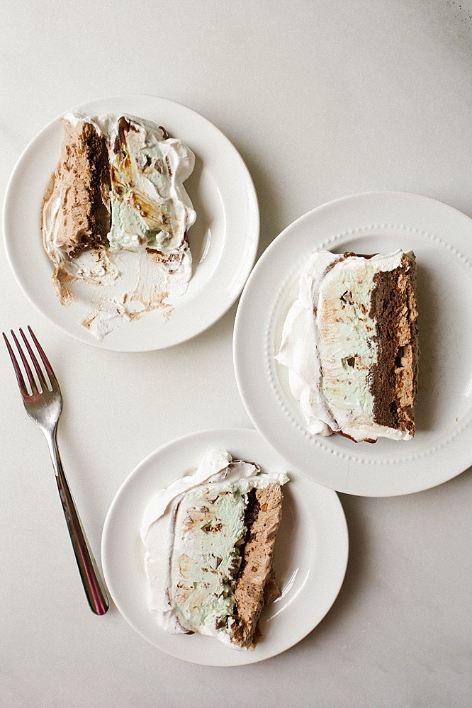 Mint Brownie Ice Cream Cake