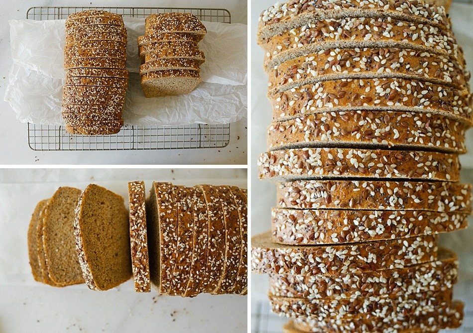 Flaxseed Bread Recipe by thewoodandspoon.com . 100% whole grain wheat sandwich bread with added fiber from flax seed meal. Moist, fluffy, easy yeast bread recipe that makes two loaves. No bread maker required. The Wood and Spoon Blog.