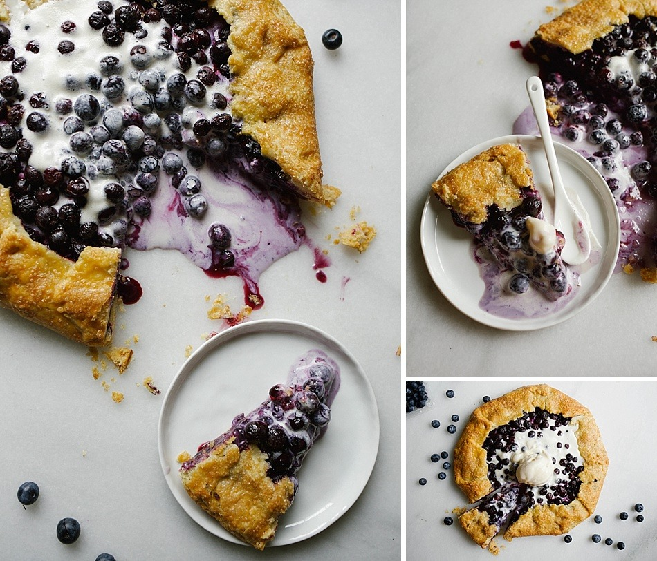 Blueberry Galette with a Cornmeal Crust Recipe by The Wood and Spoon Blog By Kate Wood. This is a simple, fast and easy recipe. Ripe, summer produce like blueberries and lemon are thick and juicy in this pie filling. The crust has cornmeal, flour, butter, and shortening, so it is flaky, golden and perfect every time pie crust. Serve on your summer holidays for a casual and rustic dessert. Serve with ice cream or whipped cream. You can substitute other fruit too like strawberries, peaches, or stone fruit in this galette. Find the recipe and more summer recipe inspiration at thewoodandspoon.com .