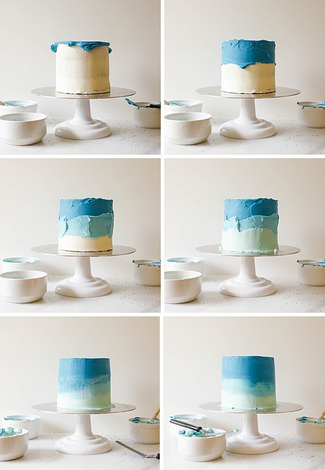 "Smash Cake Tutorial Recipe By The Wood and Spoon Blog. Blue Ombred cake- looks like the ocean! Sharing tips and techniques for decorating mini 6"" smash cakes to be served at a little boy or girl first birthday party! You'll find out how to decorate a cake with flowers, top with color balls of fondant, ombre layer cake, and rustic frosting style done with an offset spatula or palette knife. Read more about the how to and find some colorful kid birthday party inspiration here! www.woodandspoon.com"