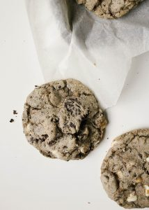 Cookies and Cream Cookies recipe by The Wood and Spoon Blog by Kate Wood. This is a recipe for Oreo cookie stuffed white chocolate chip cookies. These are soft and chewy cookies, quick and easy, that can simply be made into a cream-filled treat. Find the recipe for these simple holiday Christmas cookies on thewoodandspoon.com