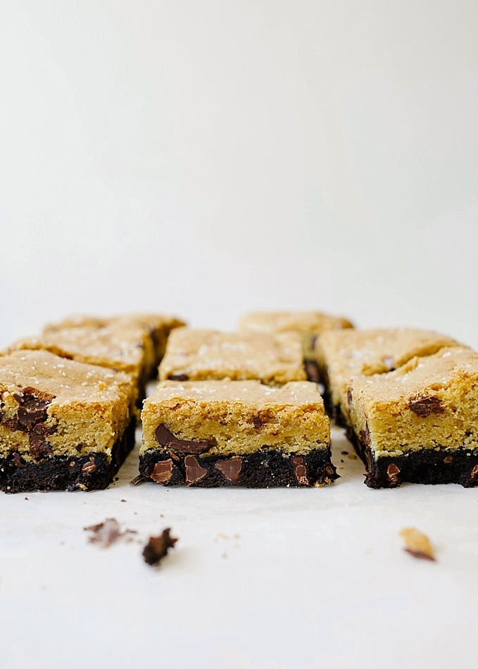"""Brookies Brownie Cookies by The Wood and Spoon Blog by Kate Wood. This is a recipe for brownie cookie bars, baked in a 9"""" pan. For when you can't decide between sweets! A rich cocoa powder and chocolate chip brownie topped with a salty chocolate chunk blondies-like cookie. They taste great with ice cream! Find the recipe and simple how to for this dessert at thewoodandspoon.com"""