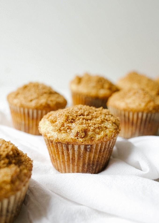 Coffee Cake Muffins recipe by Wood and Spoon Blog. This is a simple, fluffy breakfast treat with a cinnamon sugar swirl. Based on a classic sour cream coffee cake, these muffins and sweet and perfect for weekend brunch. Find the simple how to for this easy Easter baked good at thewoodandspoon.com