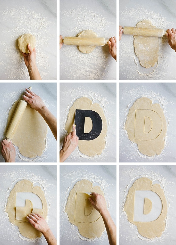 Alphabet Cream Pie recipe and tutorial by wood and spoon blog by Kate wood. this is a tutorial for those letter / number pastry cream filled tart cookies that have been popping up all over the internet! Find out how to make this simple dessert that is perfect for celebrations, birthdays, anniversaries, etc. You make two sheets of pie crust letters and fill the whole thing with piped out lemon whipped cream cheese filling. The tart is topped with fresh fruit, macaroon cookies, flowers, candies, sprinkles and whatever else feels festive. Learn how to stencil and prepare this fun treat! recipe on thewoodandspoon.cpom