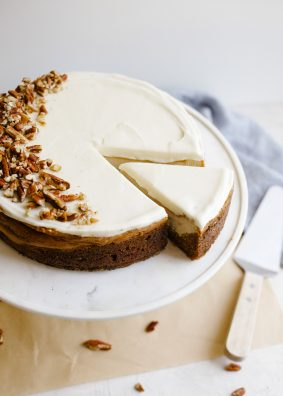 Carrot Cake Cheesecake by Wood and Spoon blog. This is a spring and easter inspired cake with a cinnamon spiced fluffy carrot cake bottom and brown sugar cheesecake top. A little frosting makes this cake inspired by Cheesecake Factory . Serve with chopped pecans and caramel sauce for an extra special dessert! Recipe and how to for marbled cheesecake on thewoodandspoon.com