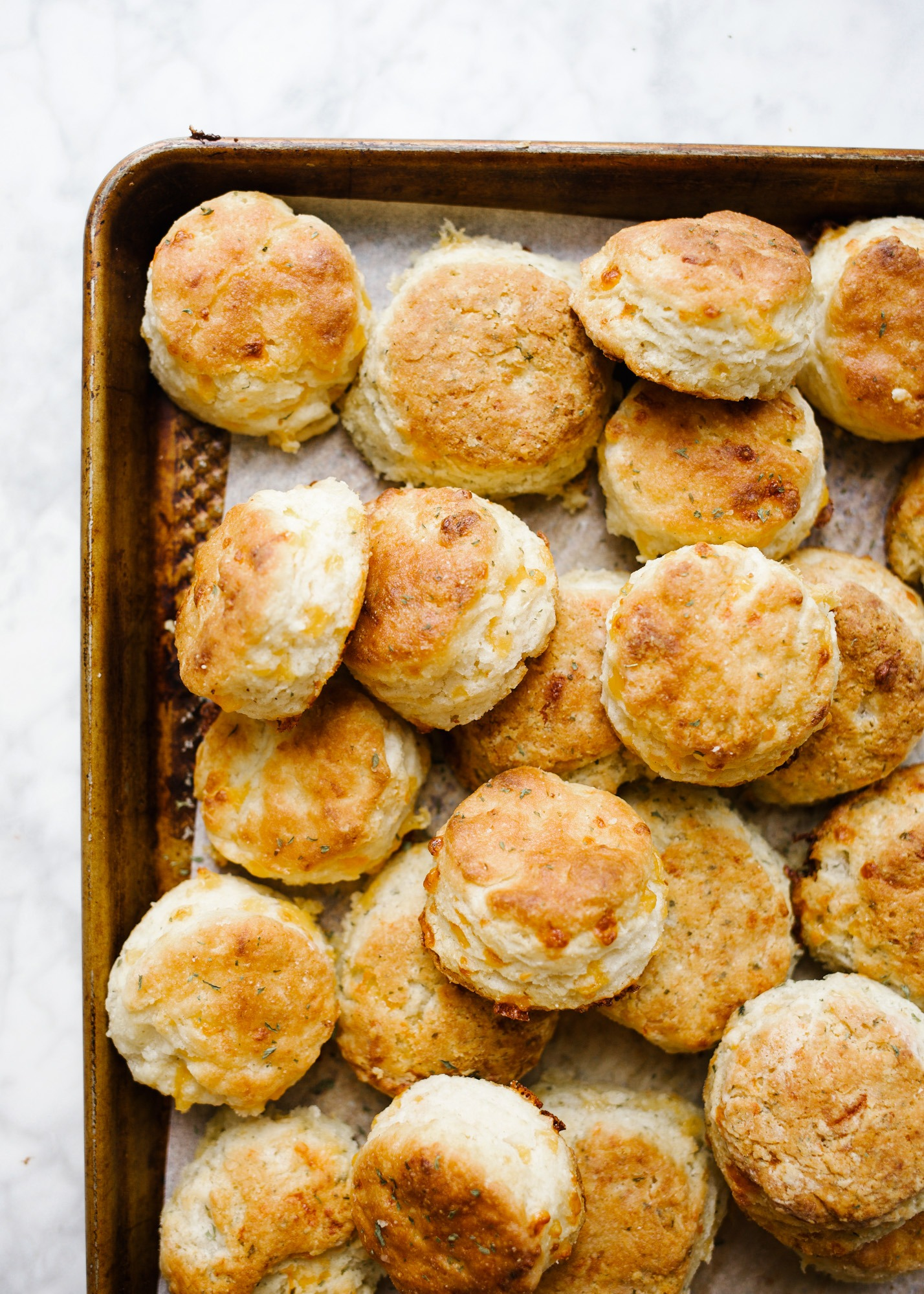Cheddar Cornmeal Biscuits by Wood and Spoon blog. These are layered, buttery, Southern-style biscuits flavored with cheddar cheese, herbs, and cornmeal! The texture comes out to somewhere between cornbread, muffins, and biscuits! These baked breads are loaded with flavor and serve as a great side item or bread option for dinners all year round. Give these flaky breakfast treats a try on thewoodandspoon.com