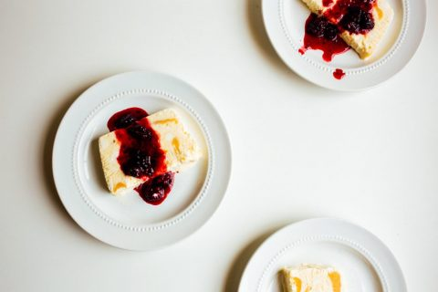 Peach Semifreddo with Blackberry Mint Compote by The Wood and Spoon Blog by Kate Wood. This is a semifreddo which means semi frozen. It is like a layered ice cream cake dessert filled with a simple peach jam filling and sliced after freezing. A blackberry compote made with fresh basil tops this recipe. Learn about how to make this dessert in a loaf pan on the blog at thewoodandspoon.com