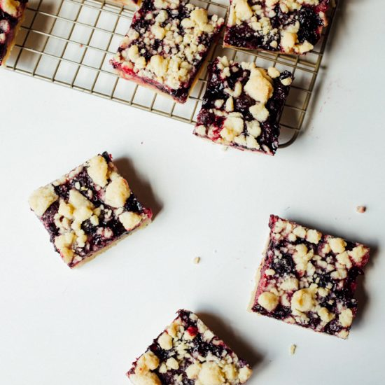 Blueberry Lemon Bars Recipe by the Wood and Spoon Blog by Kate Wood. This is a simple shortbread crust summer berry fruit bar. The shortbread is lemon zest scented and the blueberry filling is full of more zest and lemon juice. The crumbles on top of buttery and add a crunch to this juicy fruit bar. Make a small or large batch for a crowd. thewoodandspoon.com