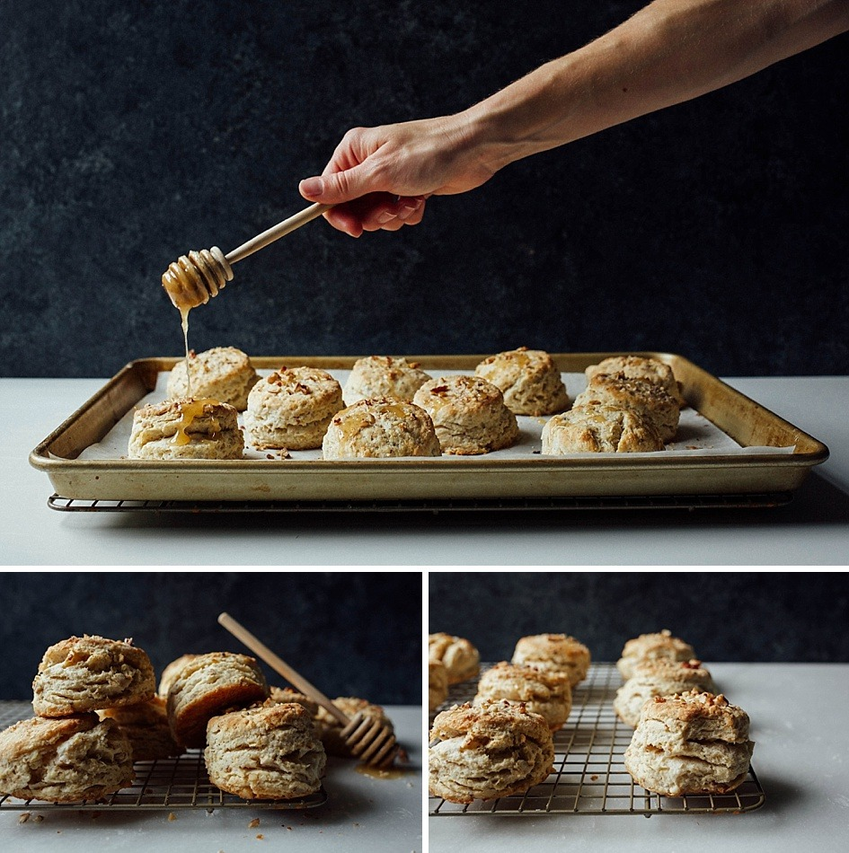 Honey Nut Biscuits Recipe by The Wood and Spoon Blog. Flaky butter biscuits sweetened naturally with honey and filled with nuts like pecans or walnuts. This simple recipe makes biscuits with lots of layers and doesn't require laminating. Recipe and other Mother's Day menu inspiration on thewoodandspoon.com // woodandspoon.com