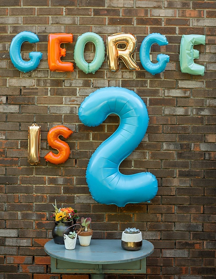 Ginger Margaritas and George's Birthday Party Wood and Spoon Blog by Kate Wood. 2nd birthday party for boy, popsicles, boozy frozen desserts, layer cake, balloon letters spray painted, outdoors, picnic, balloons with confetti, party inspiration