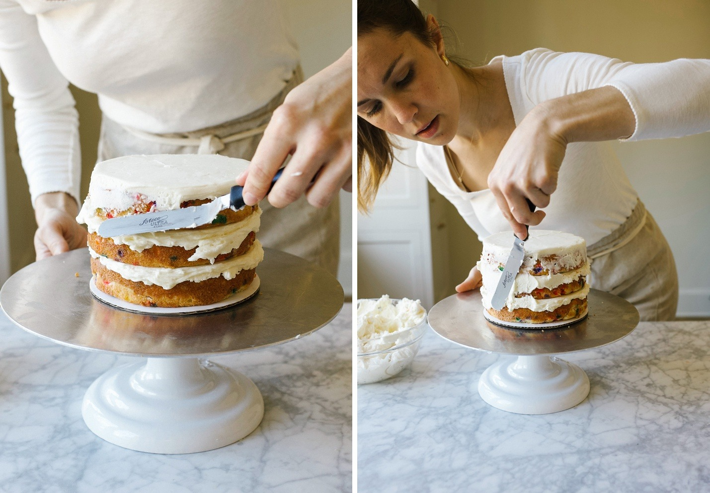 How to Stack a Layer Cake by Wood and Spoon blog. Learn the tips and how to for stacking pretty naked cakes and layer cakes from scratch homemade! Step by step tutorial with photos for learning can decorating for beginners. Learn about leveling cakes, crumb coats, filling a cake, piping borders, and more. On thewoodandspoon.com