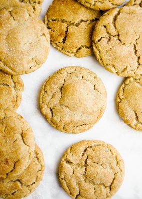 Bourbon Brown Butter Snickerdoodles by Wood and Spoon blog. These are chewy brown sugar snickerdoodles scented with bourbon. Lightly salted and perfectly sweetened, these cookies are a delicious fall treat to serve a crowd or anyone who loves a little bourbon whiskey. Learn how simple it is to make these one-bowl cookies on thewoodandspoon.com