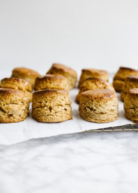 Honey Spelt Biscuits by Wood and Spoon. These are spelt flour layer biscuits made with real butter, naturally sweetened with honey, and made in small, two bite sized flaky rounds. The recipe is small batch and made just over a dozen small biscuits and is perfect size to feed a family at a single meal. Learn how to make these healthy biscuits, and how to freeze biscuits on thewoodandspoon.com